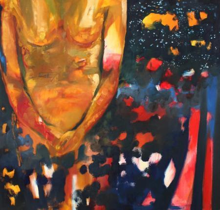 Obraz olejny przedstawiający tors w granatach, brązach.