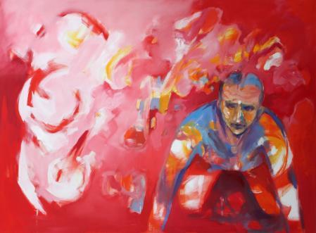 Obraz olejny przedstawiający człowieka w czerwieniach, różach i bielach.
