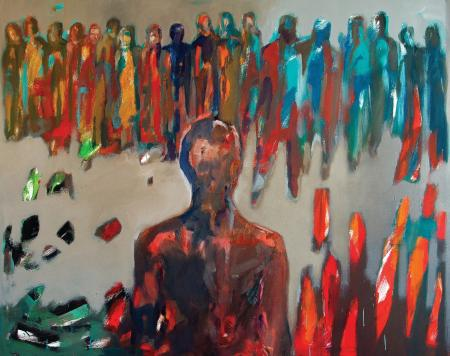 Obraz olejny na płótnie Gabryelli Miłowskiej-Moląg przedstawiający ludzi w szarościach, brązach, czerwieniach i błękitach.