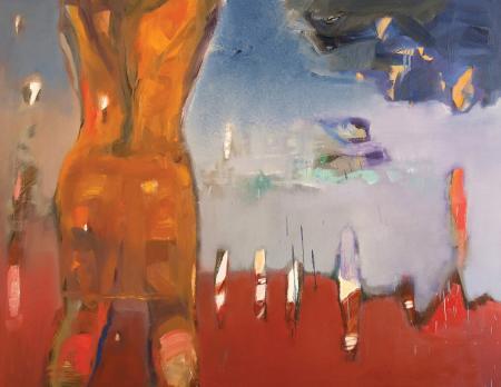 Obraz olejny przedstawiający człowieka w  czerwieniach, żółciach, szarościach.