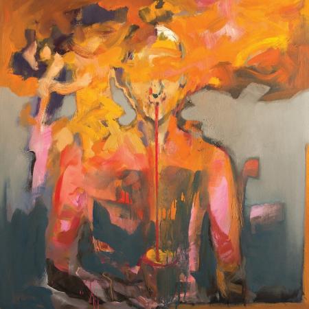 Obraz olejny przedstawiający człowieka w  żółciach, szarościach.