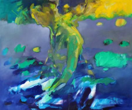 Obraz olejny przedstawiający człowieka w błękitach, żółciach, szarościach.
