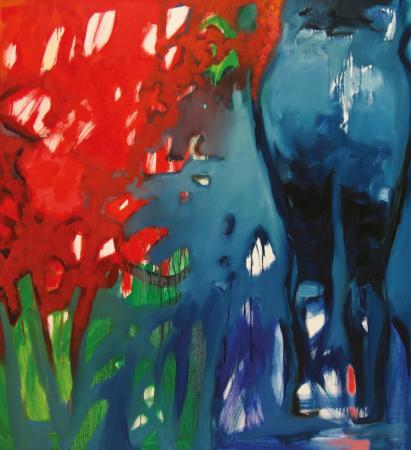 Obraz olejny  w błękitach, zieleniach i czerwieniach.