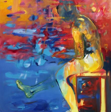Obraz olejny przedstawiający człowieka w błękitach, żółciach, czerwieniach.
