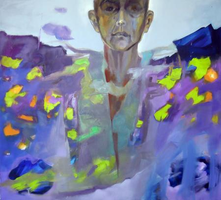 Obraz olejny przedstawiający popiersie w błękitach, fioletach, zieleniach i brązach.