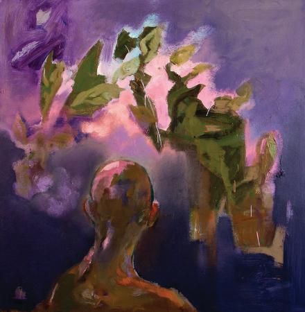 Obraz olejny przedstawiający głowę w fioletach, zieleniach.