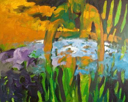 Obraz olejny przedstawiający człowieka w zieleniach, żółciach, szarościach.