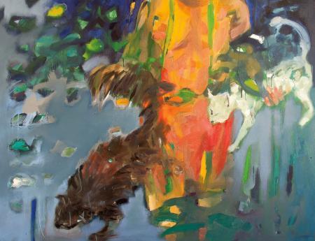 Obraz olejny przedstawiający katy w błękitach,  żółciach, szarościach.