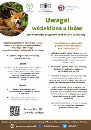 Plakat przygotowany przez Mazowiecki Urząd Wojewódzki we współpracy z Mazowieckim Wojewódzkim Lekarzem Weterynarii oraz Mazowieckim Państwowym Wojewódzkim Inspektorem Sanitarny.