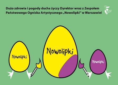 Grafika na Wielkanoc z trzema malującymi jajkami.