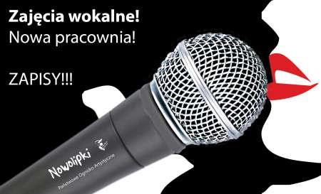 Zajęcia wokalne. Obrazek z mikrofonem.
